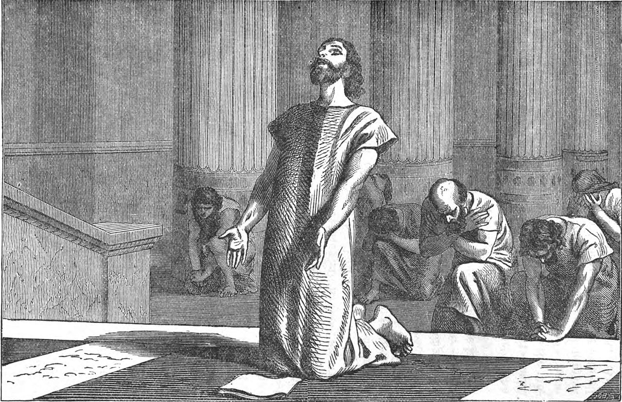 Black and white lithograph of King Hezekiah praying to God with letters of accusation before him and men of his staff kneeling behind