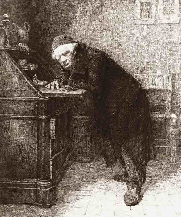 A short miserly old man leaning on a desk from a print by Antonio Piccinni