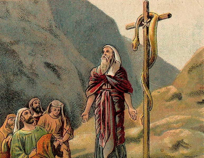 lithograph of Moses on mountain with snake on wooden pole and Israelites in foreground