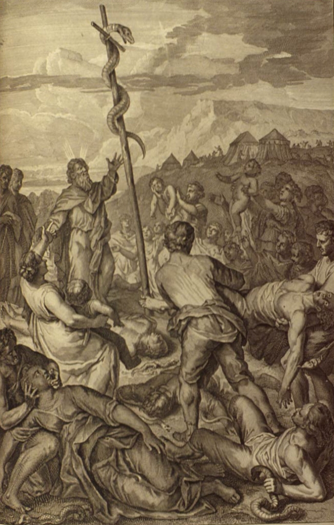 A work by Gerard Hoet of Moses lifting a serpent upon a pole with the people who had been bitten by serpents looking up at it