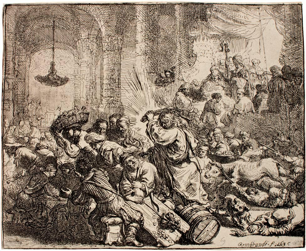 A sepia colored work by Rembrandt of Jesus driving the merchants from the temple