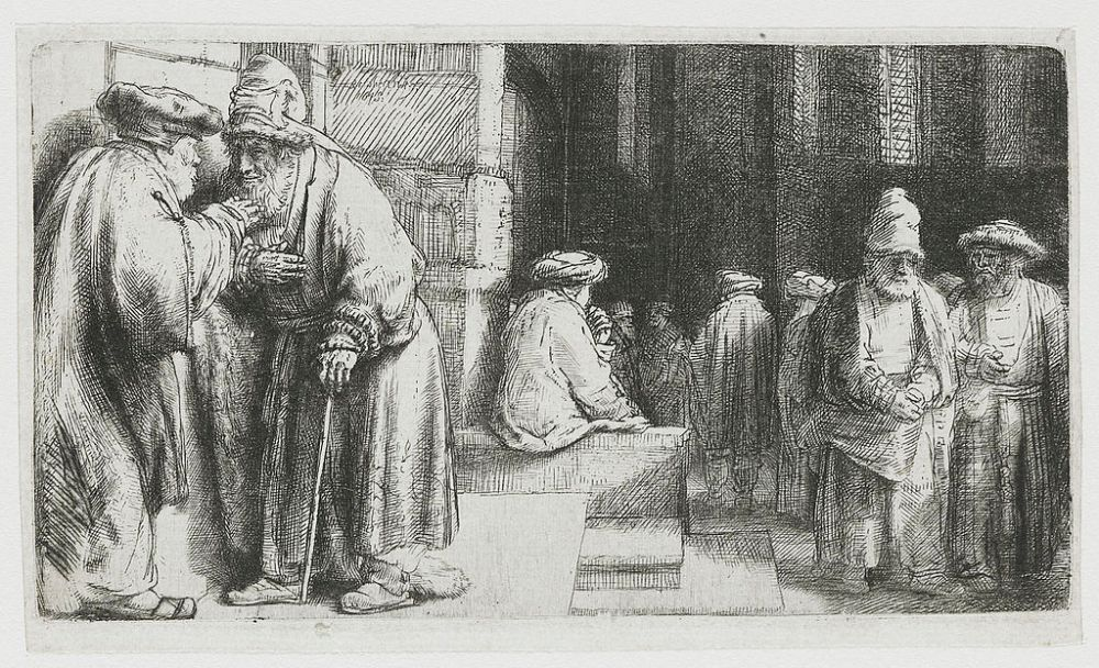 A black and white work by Rembrandt of Pharisees in the temple