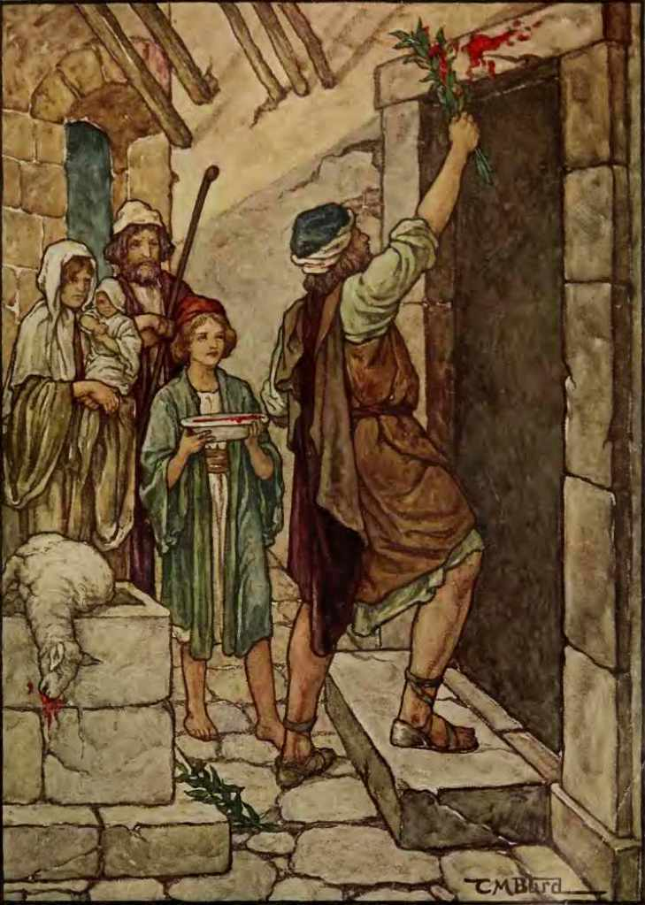 A color drawing of a Hebrew man applying blood to lintel of door with boy holding plate of blood nearby and two Israelites standing nearby watching