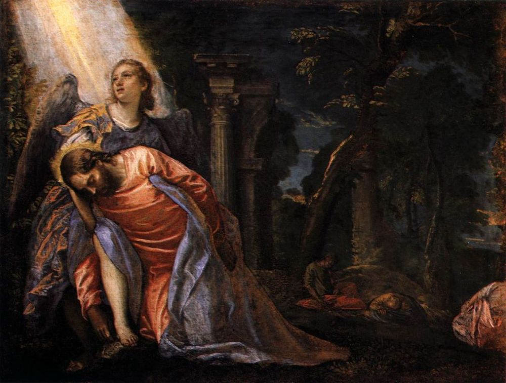 Painting of Jesus in Garden of Gethsemane falling over from exhaustion with light shining down on angel supporting Him
