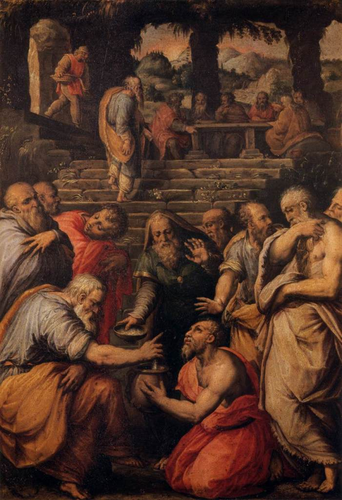 A painting by Giorgio Vasari of the prophet Elisha in the school of the prophets putting meal into the poisoned pottage
