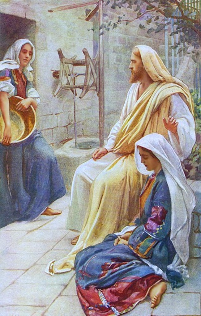 A print of Mary sitting on the ground next to Jesus' feet with Martha at a doorway holding a large bowl while looking at Jesus
