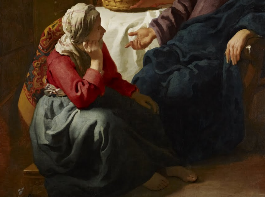 A painting by Johannes Vermeer of Christ in the house of Martha and Mary cropped to show Mary at the feet of Jesus