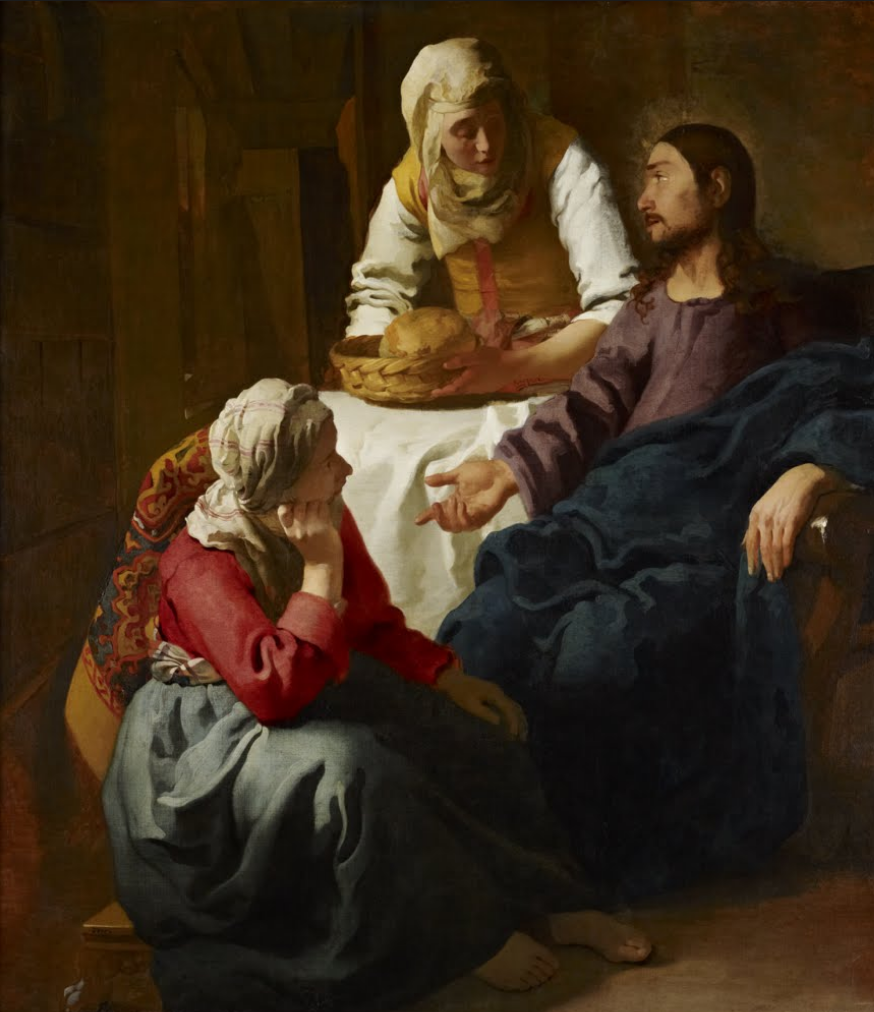 A painting of Christ seated in the house of Mary and Martha. Mary is seated at his feet and Martha serving Him a basket of bread.