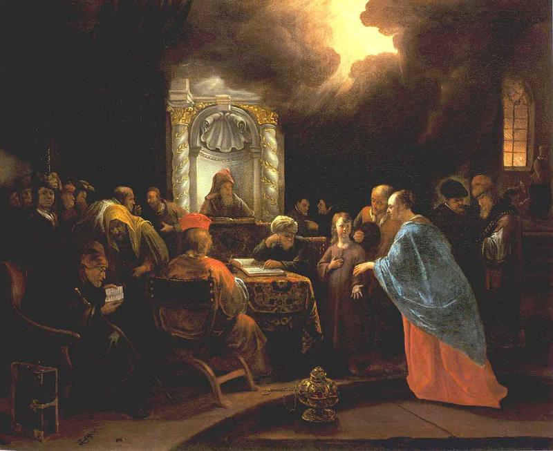 Painting of a young Jesus in the midst of scholars in the Temple