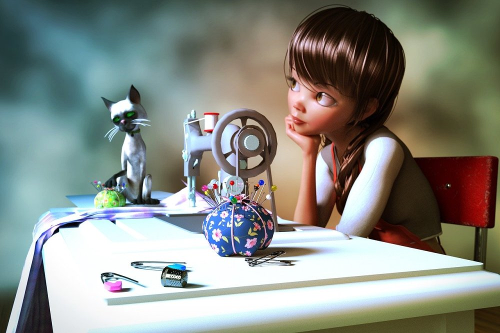 Modern doll sitting at a sewing machine (complete with pins, pin cushion, thimble and a white siamese cat) with a pondering distant expression in her face