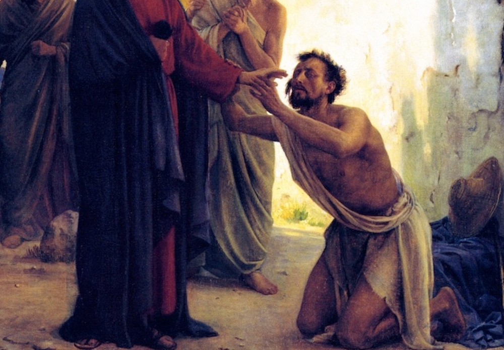 A cropped painting by Carl Bloch of Jesus healing the blind man