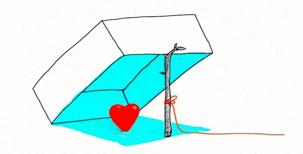 A line drawing of a box trap held by a stick with a red string attached while leaning over a red heart.