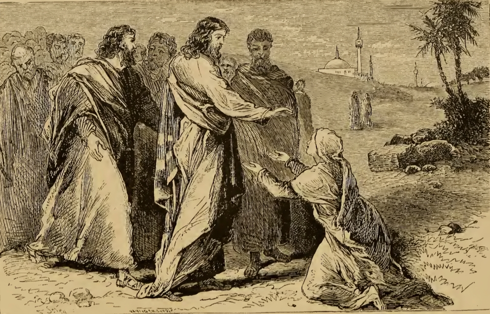A woodcut image of Jesus, with a crowd of men behind Him, extending His hands toward a woman (with an issue of blood) on her knees with her hands held out to Him