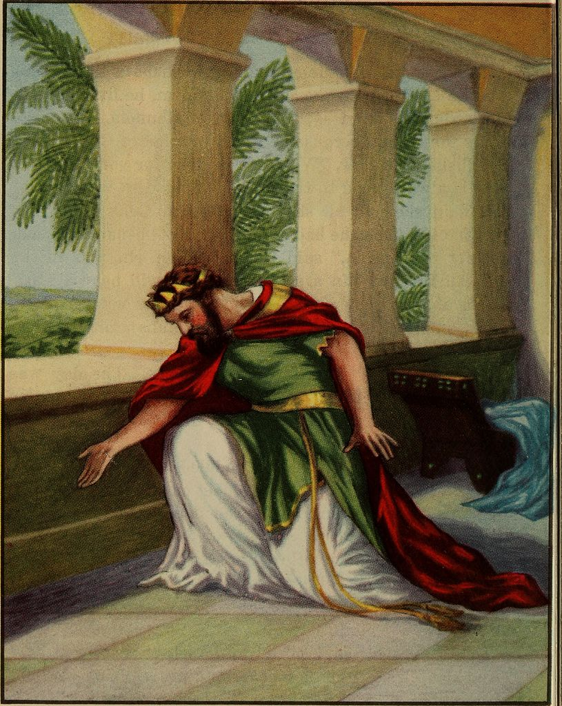 A color lithograph of King Hezekiah bowing down in a courtyard