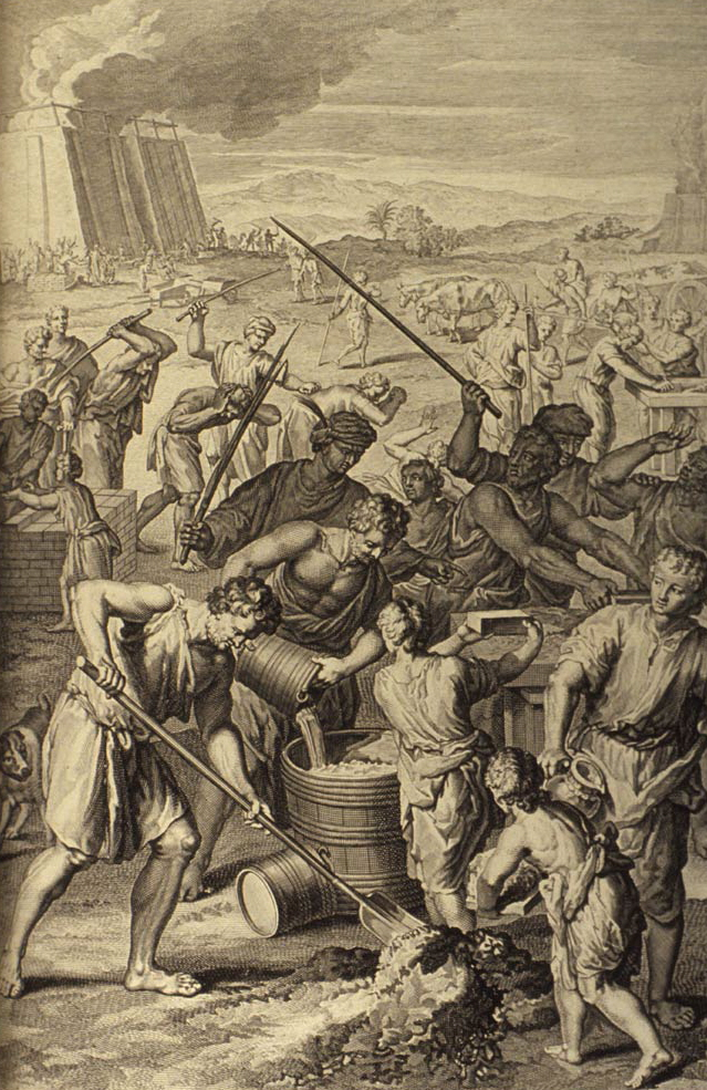 A 1726 woodcut drawing of the Israelites in working in slavery to the Egyptians