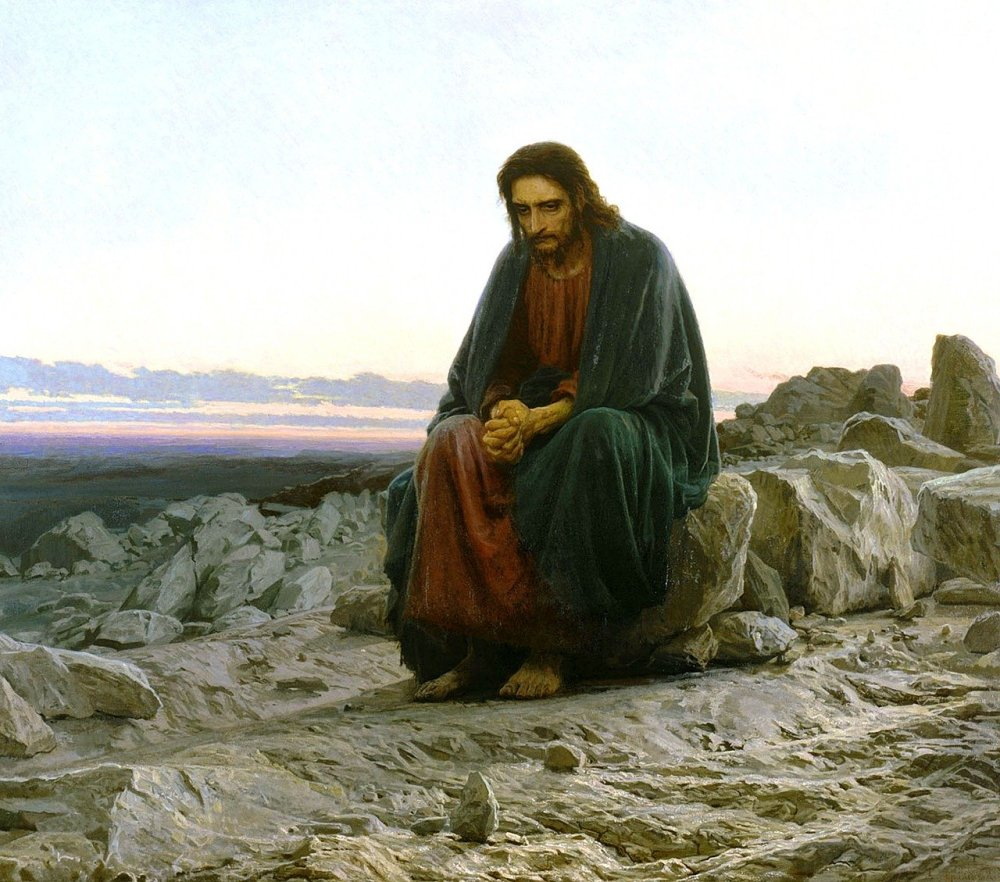 A painting of a man resembling Jesus sitting on rocks in prayer