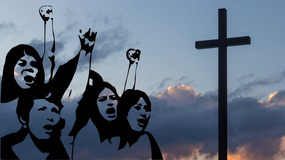 A composite image of a line drawing of women shouting and raising their fists in the air on the left side and a photo of a cross silhouette on the right side with clouds and a blue sky in the background