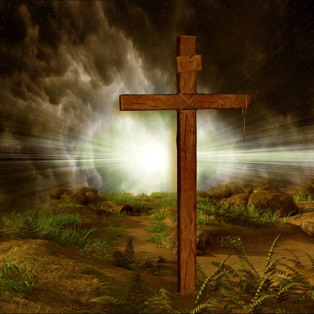 Digital artwork of an illuminated wooden cross at night on a desert style ground with a bright light emanating from clouds behind it