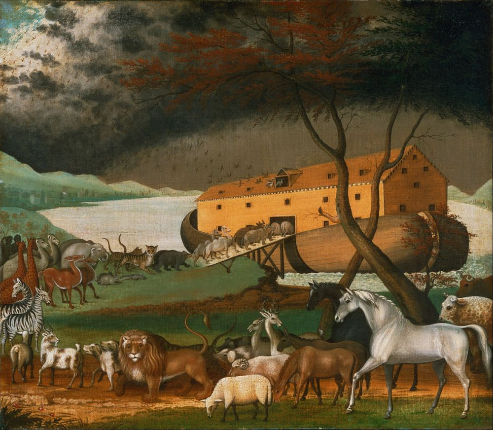 A painting by Edward Hicks of animals lining up and entering Noah's ark in the distance with dark clouds forming in the horizon