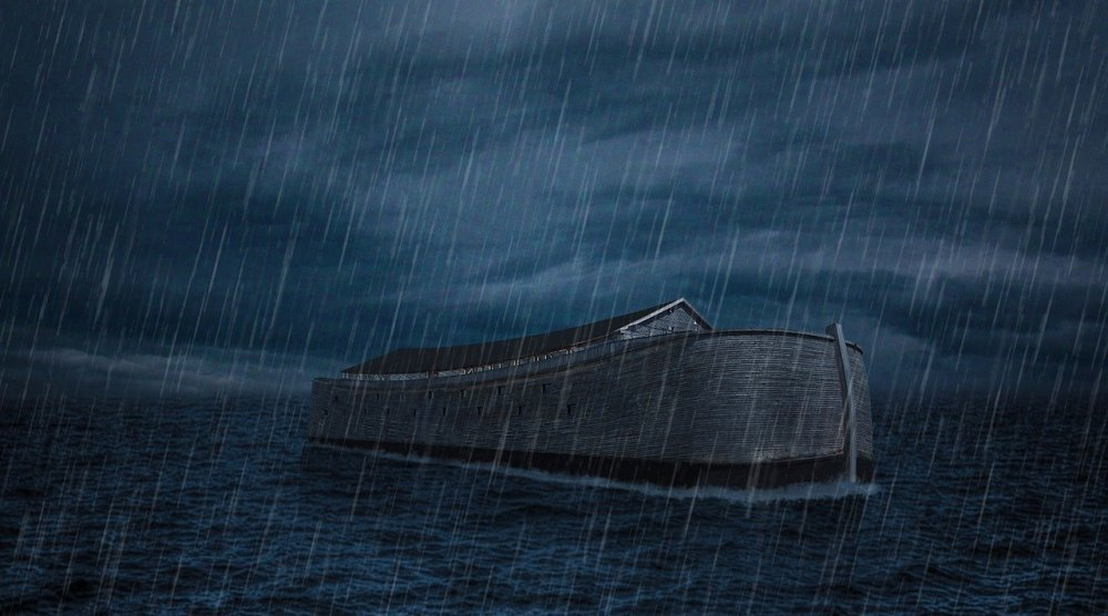 A color drawing of Noahs ark in the water by itself with heavy rains and dark sky all around it