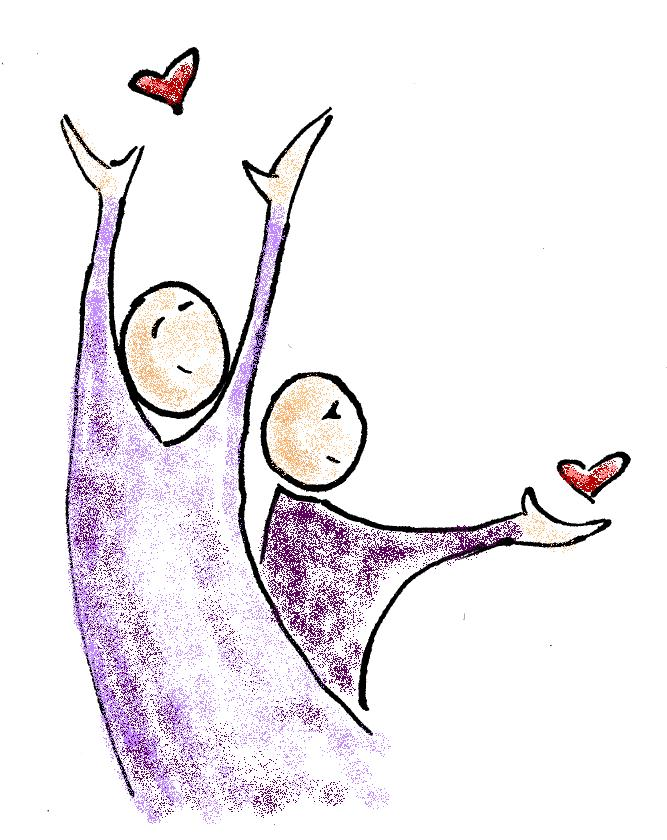A line and crayon drawing of two smiling stick-style figures dressin in purple. One has an arm raised forward releasing a red heart and the other with arms upraised releasing another small red heart