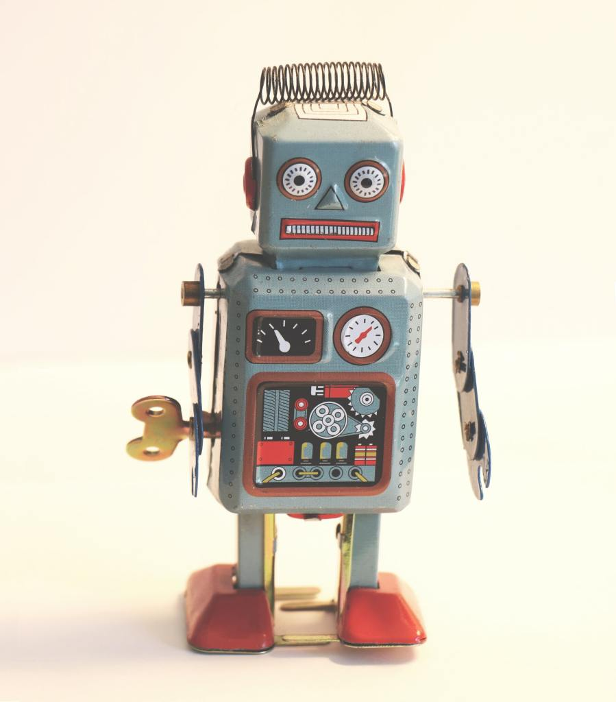 A wind-up toy robot from the 1950-1960s