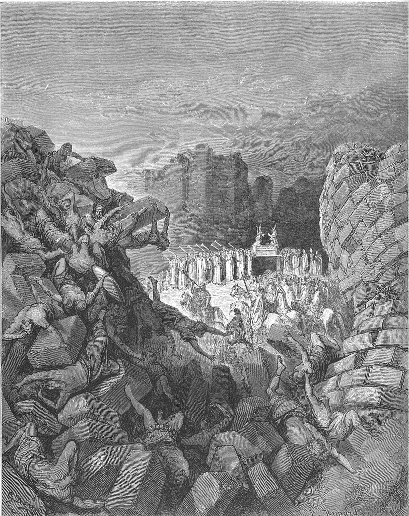 A woodcut image of the walls of Jericho fallen and the Israelites in the distant background blowing trumpets and holding the Ark of the Covenant