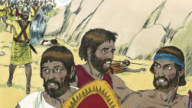 A color drawing of three Israelite men fleeing a large army in yellow and green outfits with other men lying on the ground dead and the base of a small mountain nearby