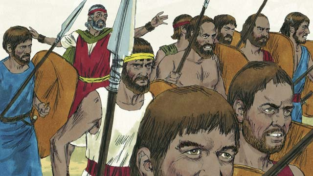 Color drawing of a group of Israelite men marching for battle while holding spears in their hands