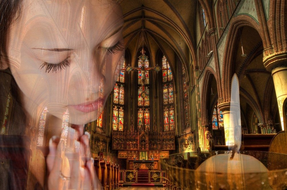 A composite image of a young woman in prayer on the left side, the interior of a large cathedral in the center and a lit white candle on the right side