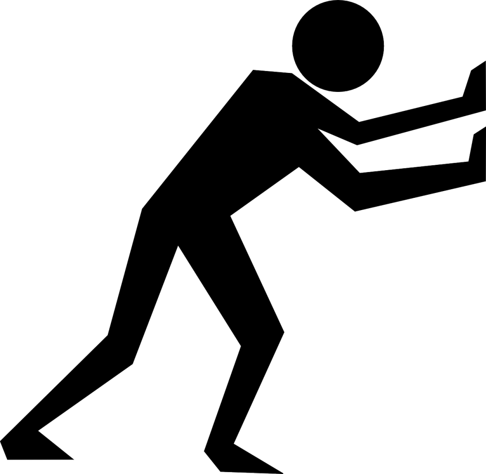 A graphical image of a black figure pushing against an unseen object