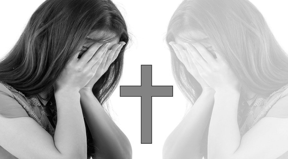 A black and white image compilation of a woman with her hands pressed against her face, a gray cross in the middle, and a faded inverted form of the same person on a white background