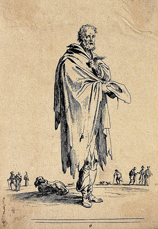 Etching by Jean Duplessi-Bert of an old man in ragged clothing