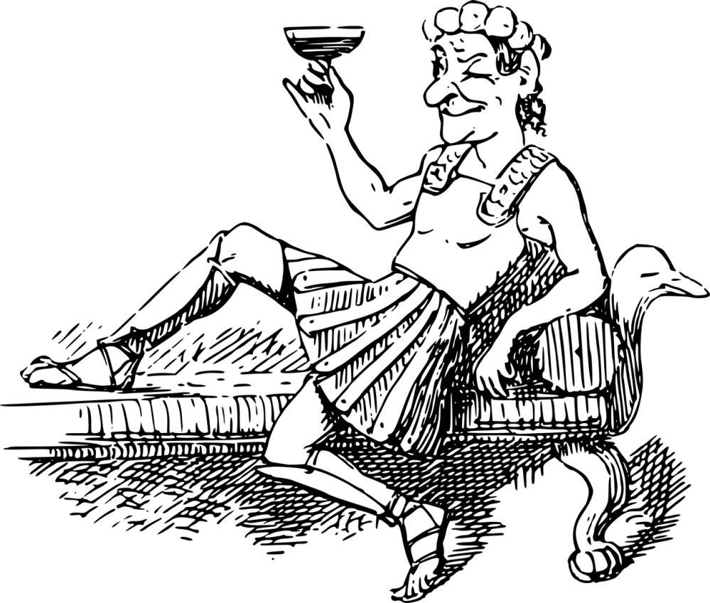 A graphical image of a black and white line drawing of a Roman man smiling and reclining while holding up a glass of a dark beverage
