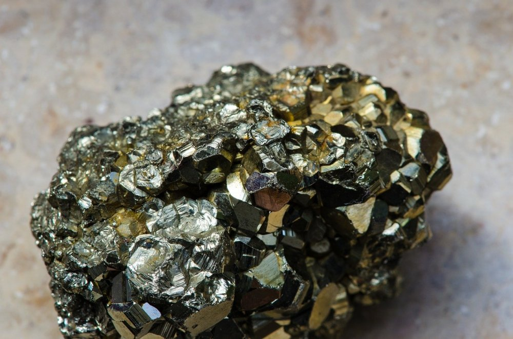 A photo of a small nugget of pyrite