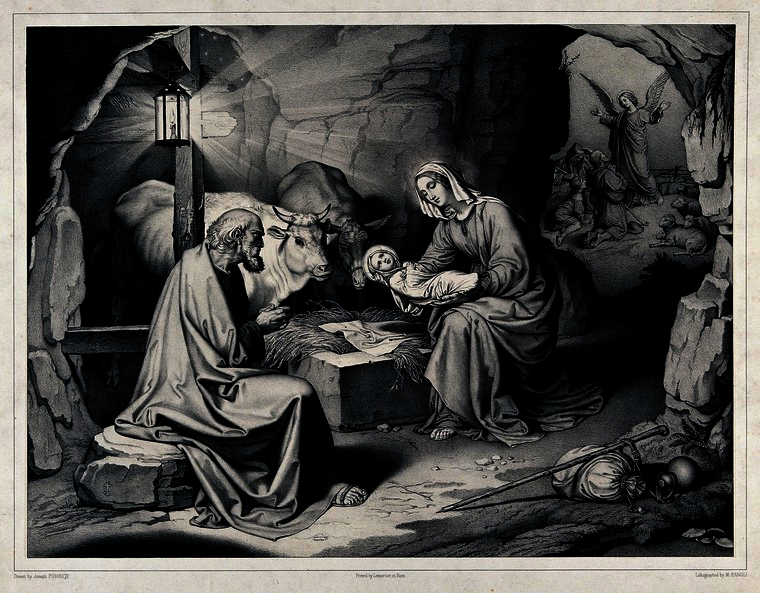 A modified lithograph of the birth of Christ in a cave with the angel announcing His birth outside in the distance by M. Fanoli after J. Führich