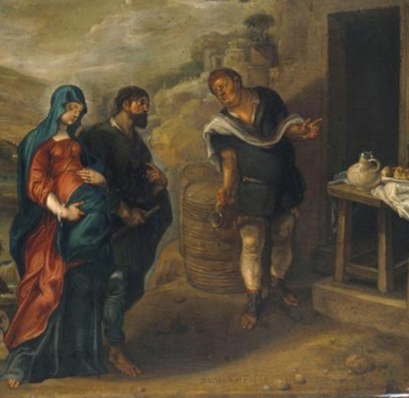 A cropped painting of Mary and Joseph seeking refuge in Bethlehem by Simon de Vos