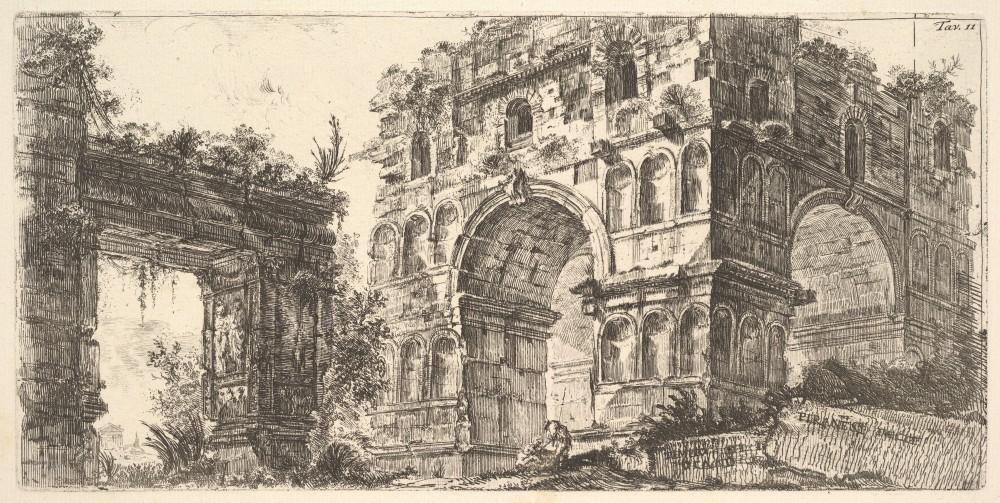 Lithograph of the temple of Janus by Giovanni Battista Piranesi