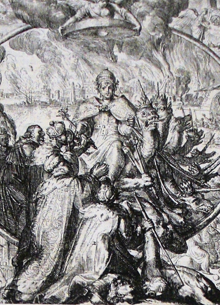 A black and white engraving of the woman sitting on the beast with numerous kings and nobles kneeling around her as mentioned in Revelation 17 of the Bible