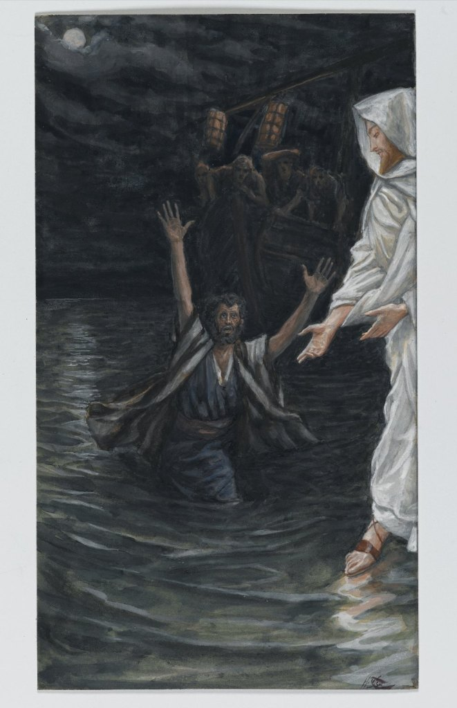 A painting by James Tissot of Jesus standing on the water reaching out to Peter with a distressed expression on his face who is sinking with his hands fully raised in the air and the boat carrying the rest of the disciples displayed faintly in the background