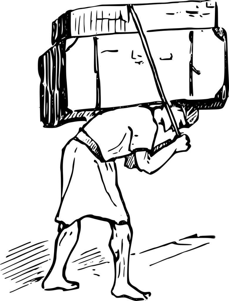 A line drawing of a man bent over while carrying a pair of heavy objects on his back held in place a single strap he is holding with each hand