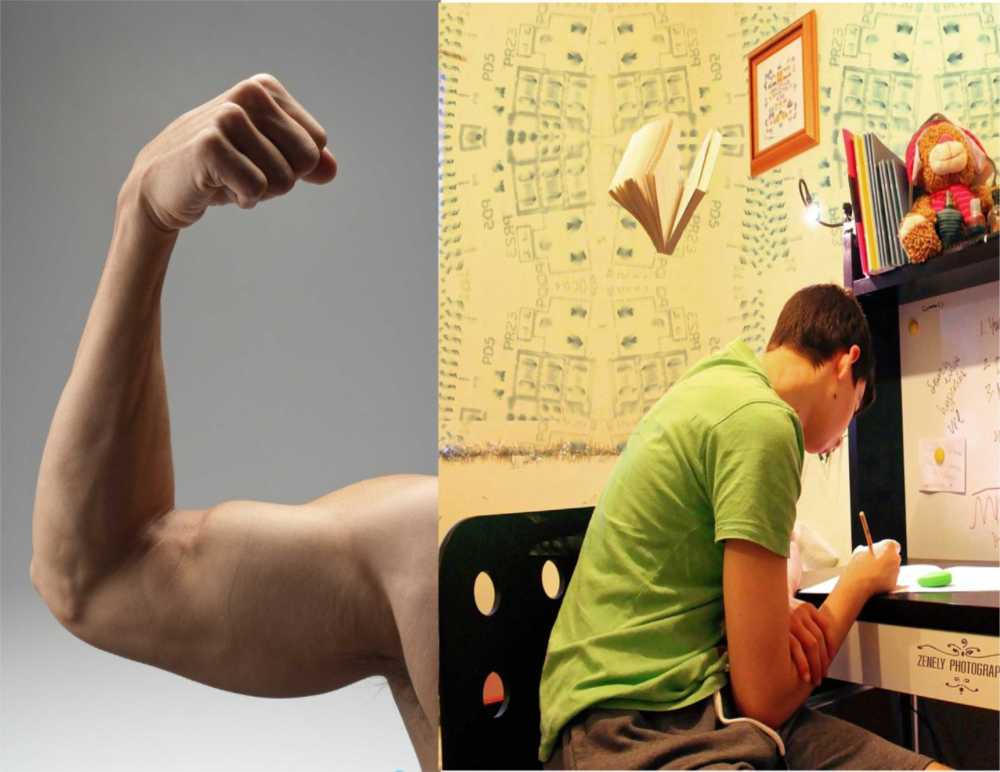 A combined photo of an arm flexed displaying muscles and a young Caucasian man wearing a light green t-shirt sitting a narrow desk/bookcase writing with assorted stuffed animals and books displayed on the shelves, a whiteboard with writing, walls covered with various diagrams and figures as well as several open books floating in midair