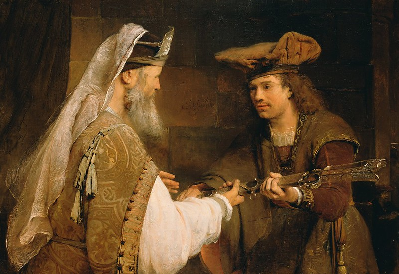 A painting of Aert de Gelder showing Ahimelech the priest handing David the sword of Goliath