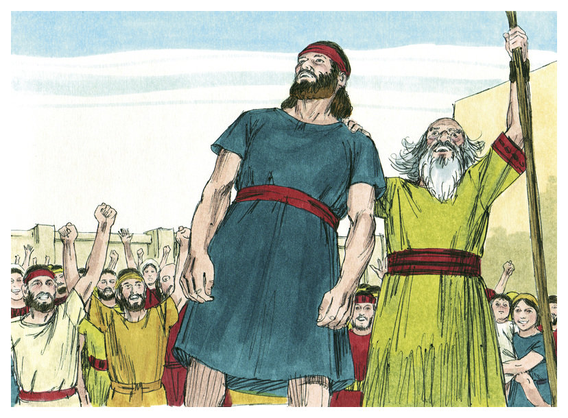 A color illustration of Saul wearing a blue tunic, a red waistband and red headband being declared king by Samuel the priest. A balding grey hair and bearded man who is wearing a green tunic with a wider red waistband and red banded cuffs while holding his arm high up on a long wooden staff with a large crowd of people cheering and arms raised in the background