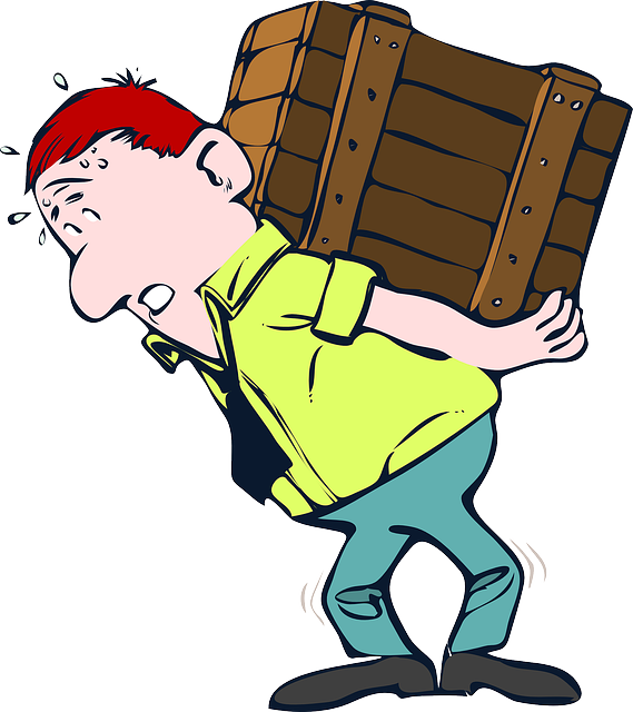 A graphical image of a Caucasian man with red hair, light green shirt, black tie, darker green pants struggling with a large wooden crate on his back