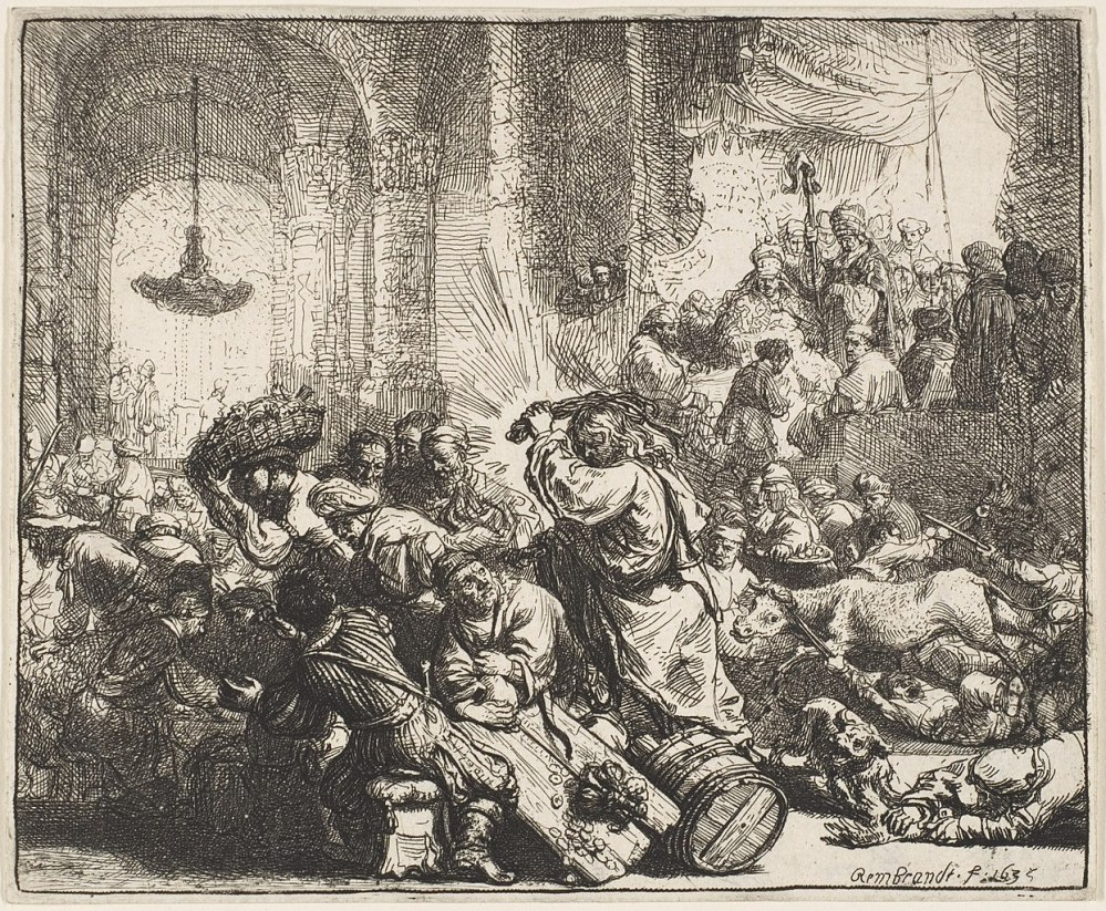 An etching of Christ driving the money changers from the Temple by Rembrandt
