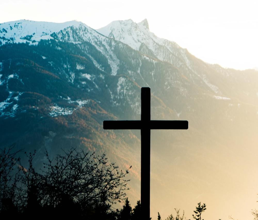 A large dark cross beside a silhouette of some overgrowth to the left with a blue tinted mountain and beige colored fog in the background