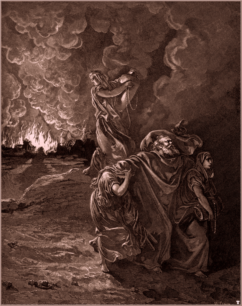 A woodcut of Lot and his family escaping Sodom as fire rages in the background and his wife just behind him looking back and the city while holding a large pitcher