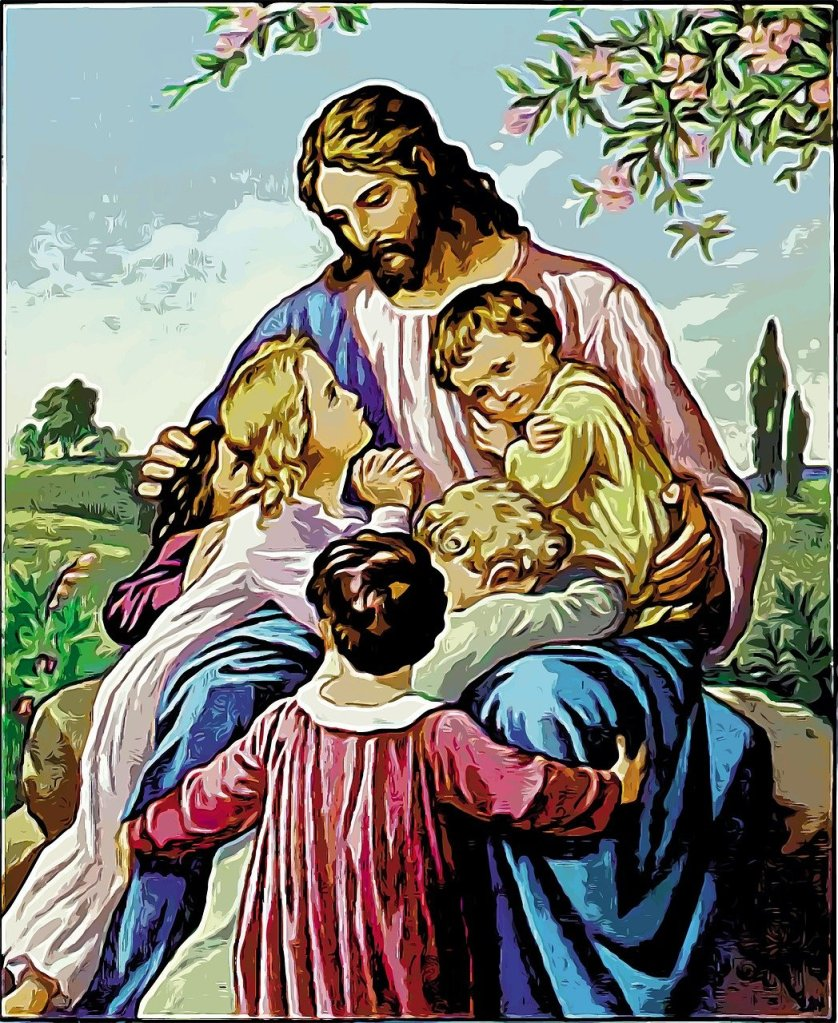 Colored artwork of Jesus Christ seated with several children in His lap and embracing Him