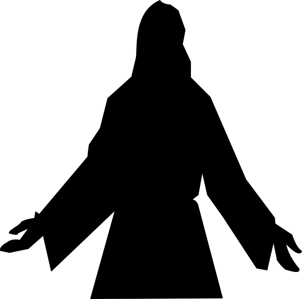 A silhouette of Jesus Christ with His arms partially outstretched